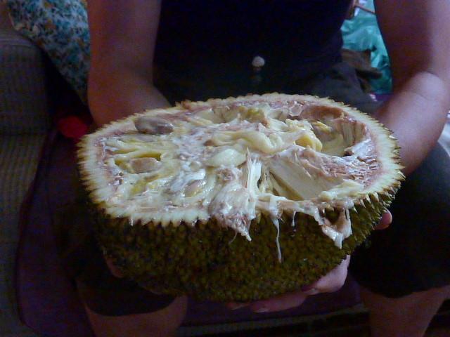 Diese seltsame, riesige Frucht fuehlt sich an wie wenn man Schnecken essen wuerde, zieht Faeden und verklebt einem das Gesicht..... ist aber fein.