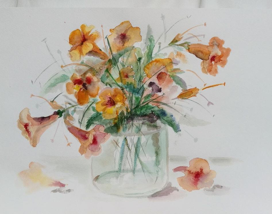 Studie mit Gartenblumen, Aquarell, verschenkt