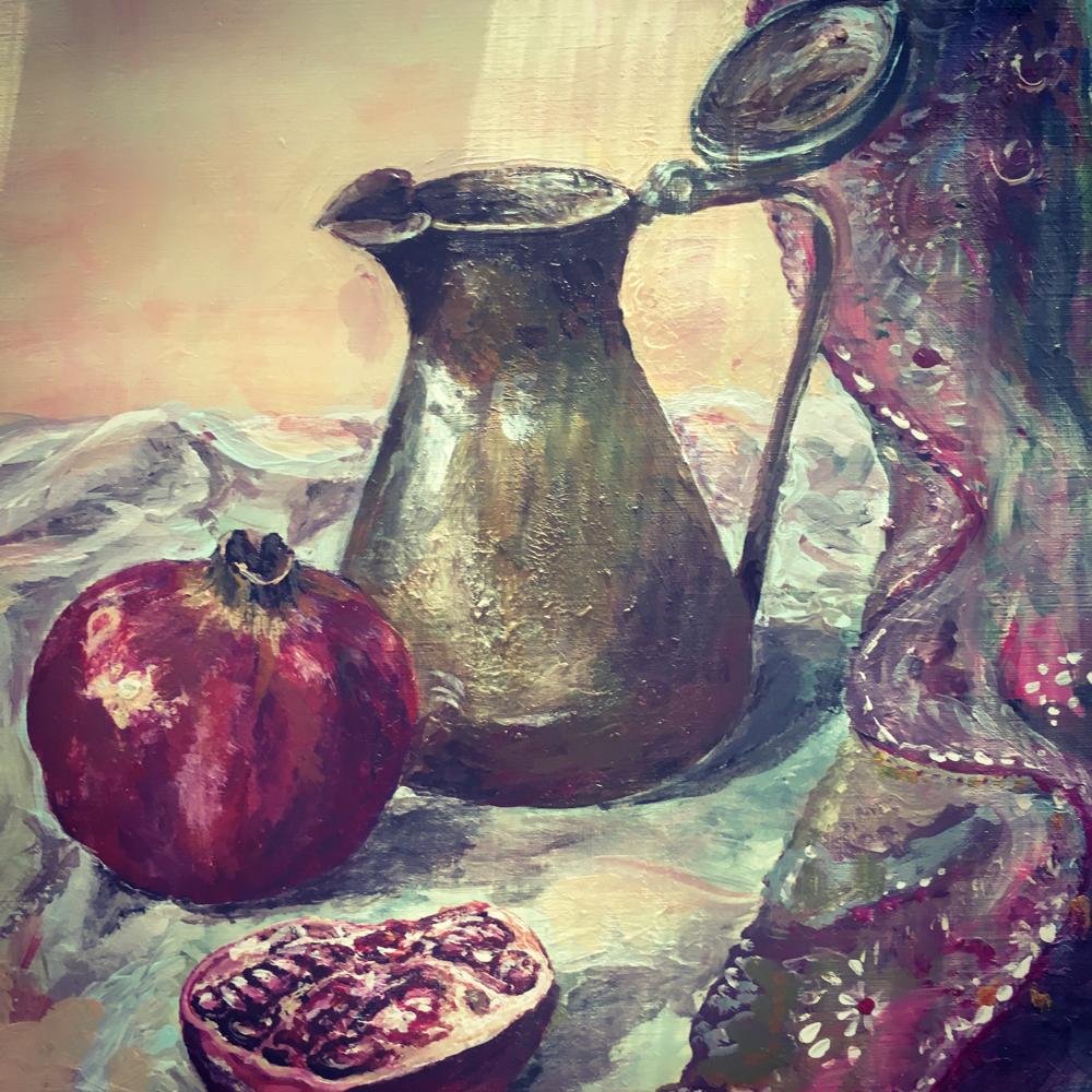 Stillleben mit Granatapfel, Acryl, 40x50, verschenkt