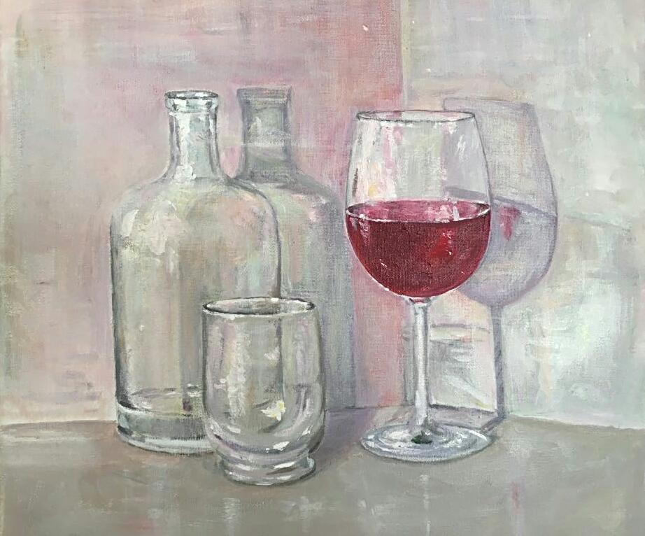 Studie mit Glas und Rotwein, Acryl, 30x40, € 150,00