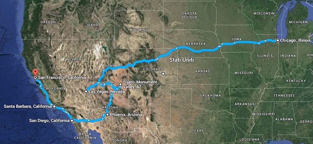 Our itinerary in the 2012 road trip in the USA