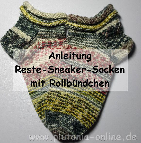 Anleitung für Reste-Sneaker-Socken mit Rollbündchen
