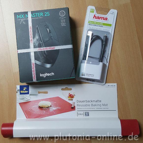 Einkäufe am ersten Urlaubstag, Maus, Handyladekabel und Silikonbackmatte