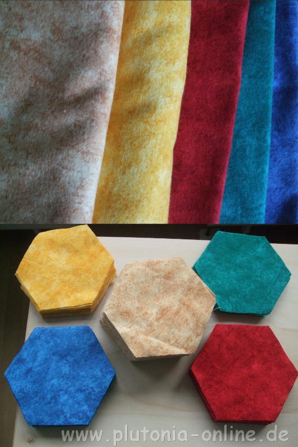 Babydecke - Stoffe und zugeschnittene Hexagon