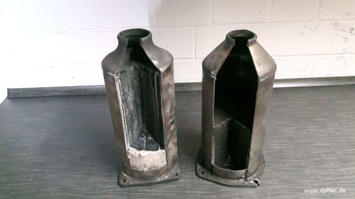 """49  Vergleich """"original"""" Peugeot DPF (links) gegenüber Nachbau (rechts), dieser ist um die Hälfte kürzer und muß daher doppelt so oft regeneriert werden, das Innenmaterial ist innen ungesichert, schiebt sich nach hinten ... (Fortsetzung unten)"""