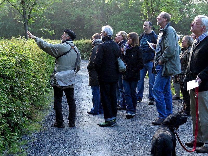 Früh morgens im südlichen Schlosspark: Herr Lichtner zeigt uns die frühen Sänger