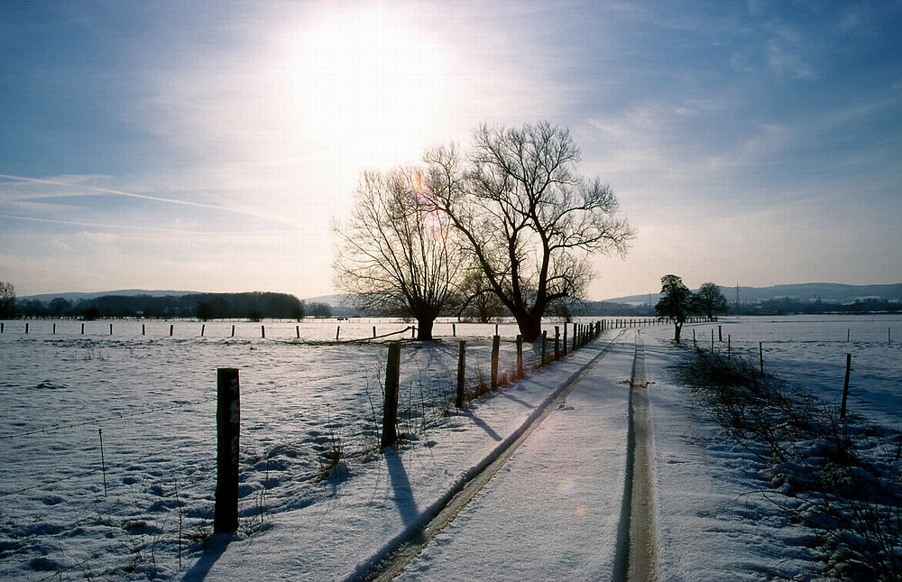 Im Januar: Schnee bedeckt die Niederung
