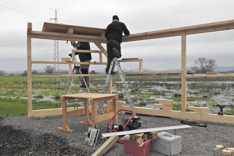 Bau des Sichtschutzes
