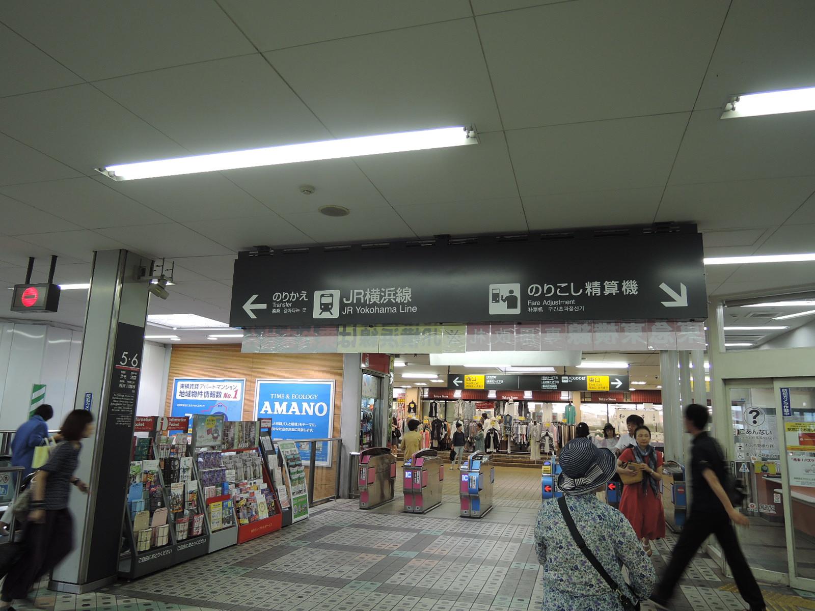 東急東横線改札。JR横浜線に乗り換え便利。改札を出ると東急ストア入口が目の前