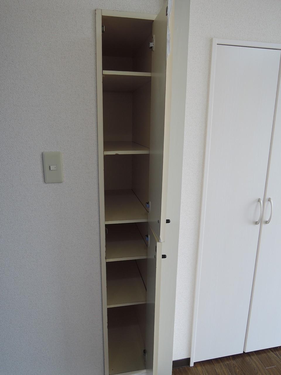 棚板の移動可能な上下に分かれた収納