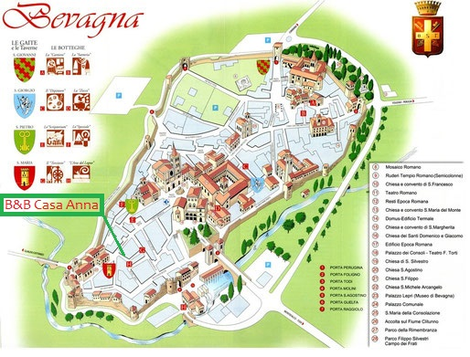 BED AND BREAKFAST BEVAGNA CASA ANNA mappa