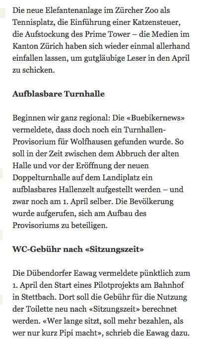 """Fand Eingang in die Aprilscherzsammlung des """"Zürcher Oberländers"""": Wolfhauser Turnhalle"""