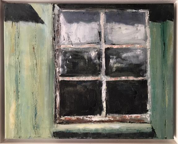 Bootsschuppenfenster 3, Öl auf Leinwand