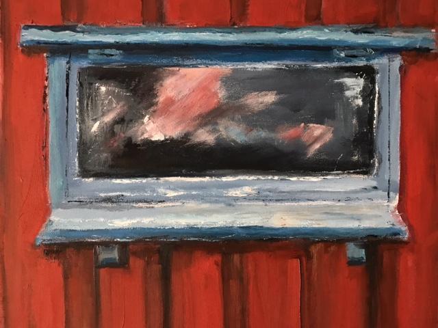 Bootsschuppenfenster 8, 50x40cm, Öl auf Leinwand