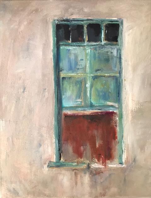 Fenster, 40x40cm, Öl auf Leinwand