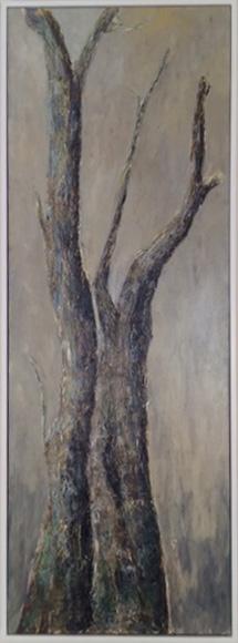 Baum 1, 42x127cm, Acryl + Ölkreide