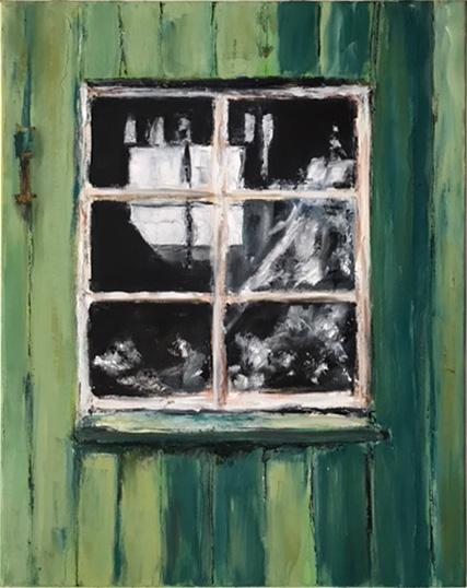 Bootsschuppenfenster 2, Öl auf Leinwand