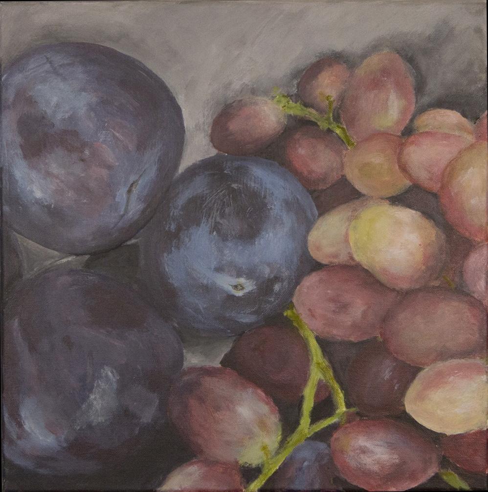 Pflaumen und Weintrauben, 40x40cm, Acryl auf Leinwand