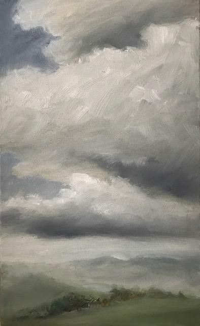 Untere Landschaft, 24x40cm, Öl auf Leinwand