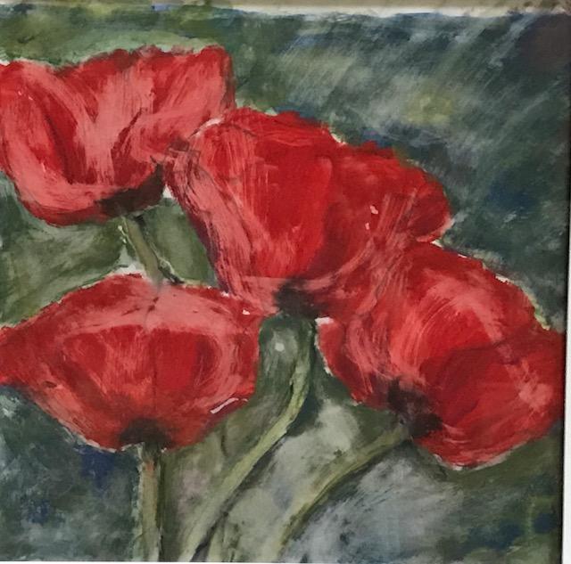 Mohn, 50x50cm, Pigment auf Papier