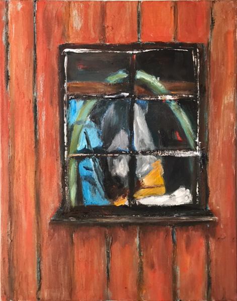 Bootsschuppenfenster 7, 40x50cm, Öl auf Leinwand