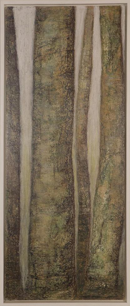 Bäume, Acryl + Ölkreide auf Holz