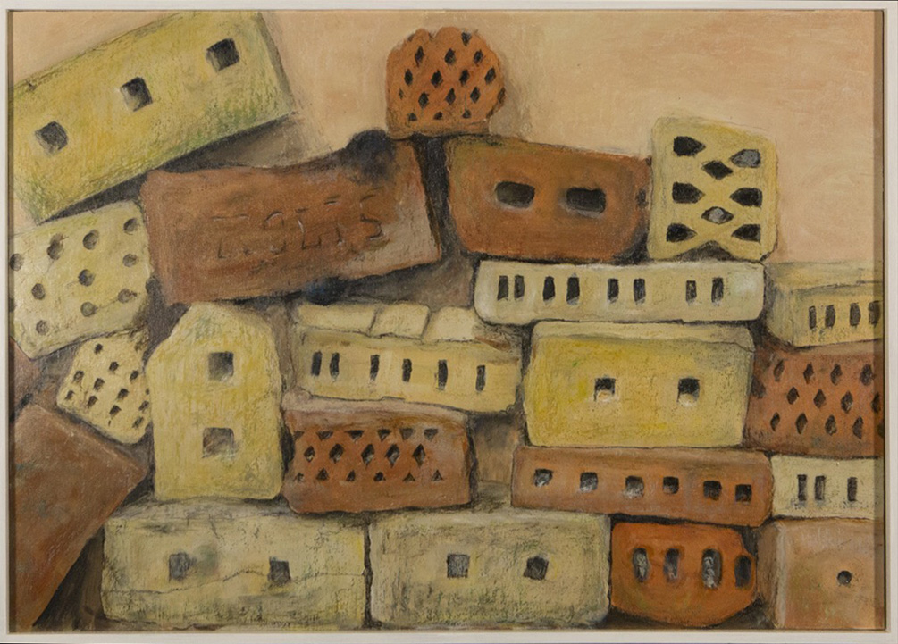 Fundstücke, 69x49cm, Acryl Ölkreide
