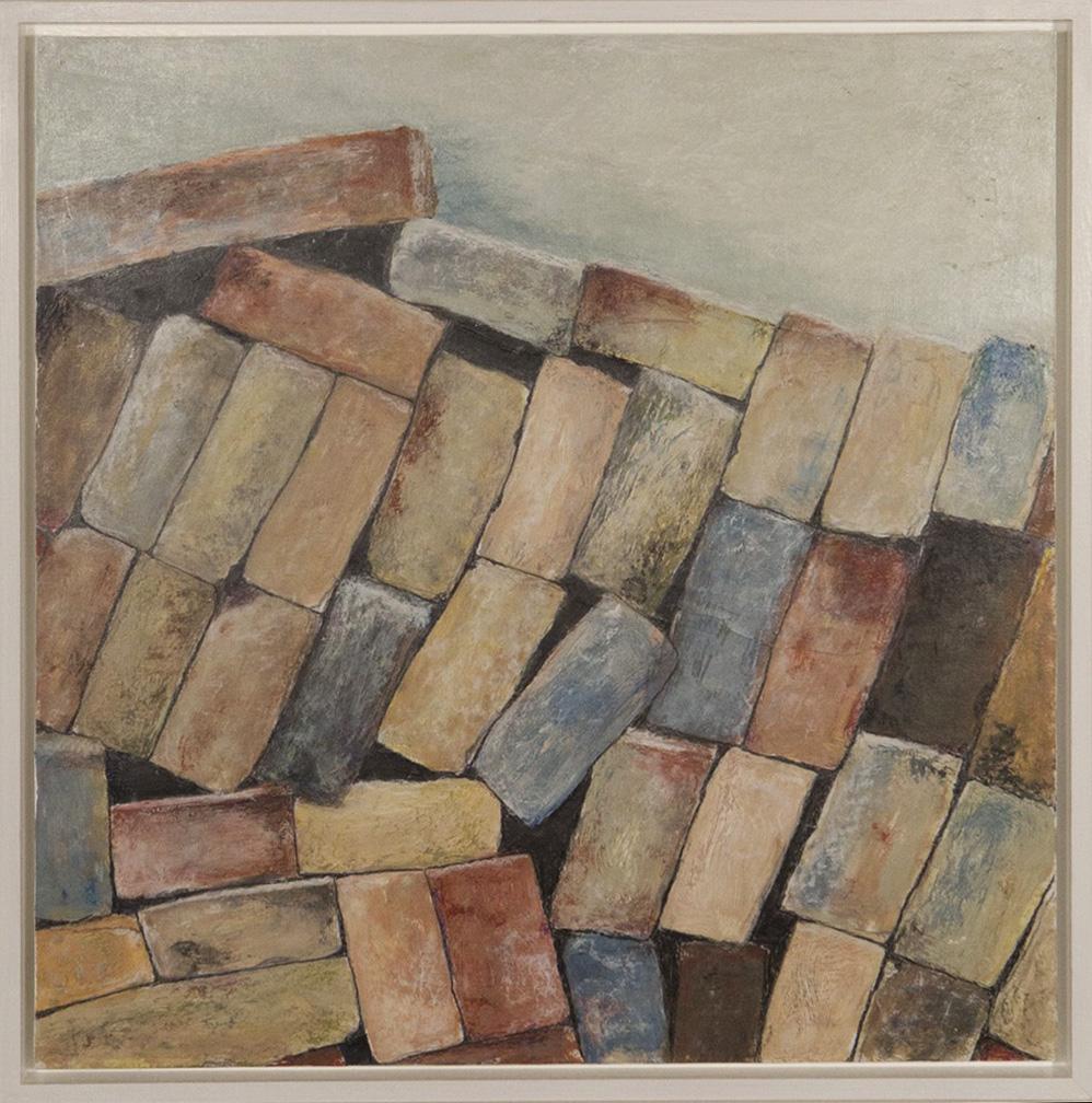 Alte Mauersteine 2,  50x50cm, Acryl + Ölkreide auf Holz
