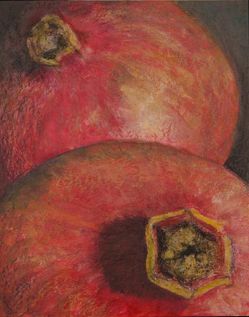 Granatäpfel, 40x50m,  Acryl + Ölkreide