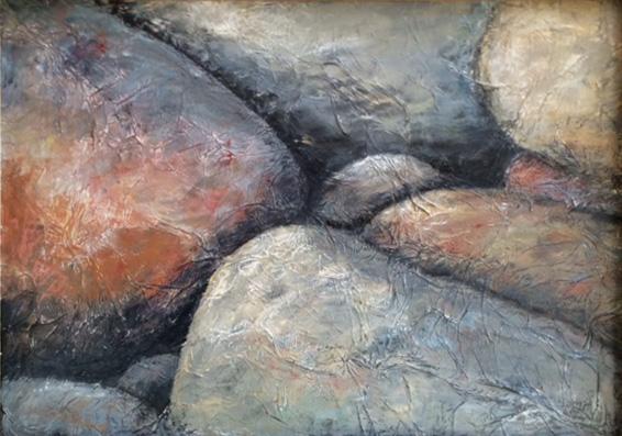 Steine, 60x40cm, Acryl und Ölkreide auf Holz