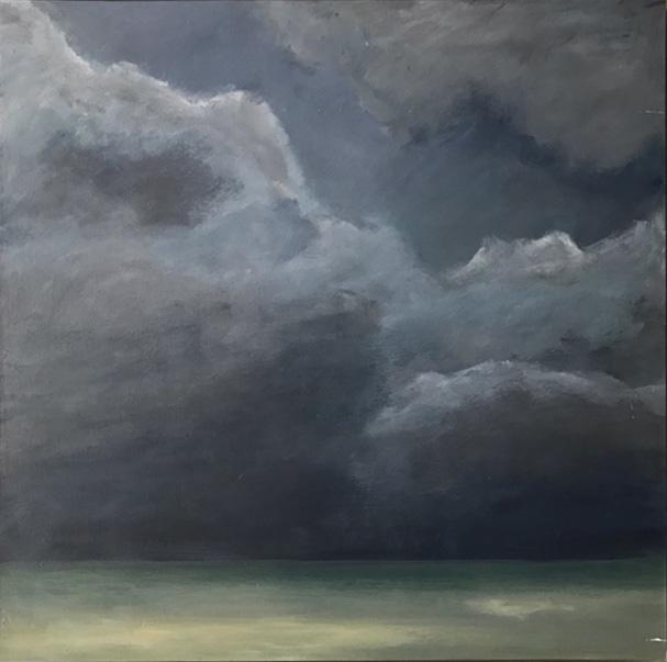 Gewitter über Föhr 2,  50x50cm, Öl auf Leinwand