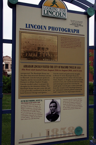 Lincoln sign on Courthouse Square, Macomb IL