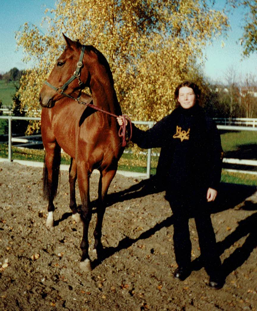 mit einem Ausbildungspferd