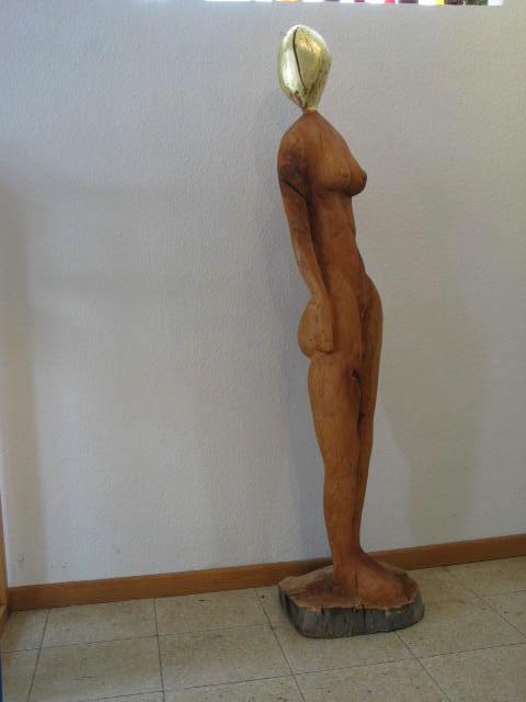 Wächterin / 160x40 cm Linde Blattgold