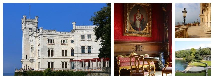 Ansichten von Schloss Miramare in Triest