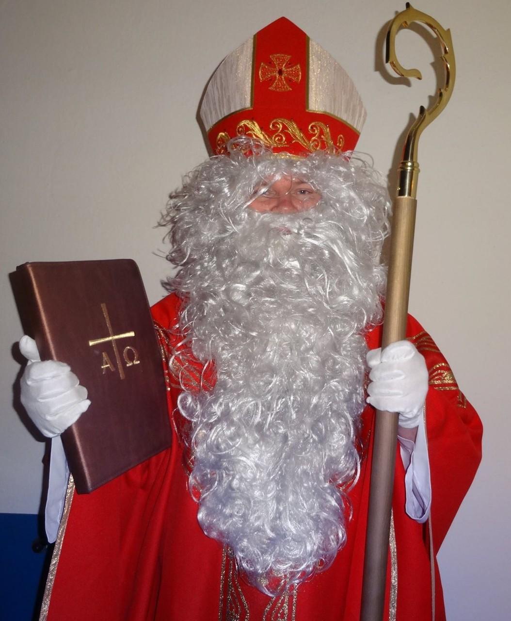 Bischof Nikolaus mit Mitra, Bischofsstab und Goldenen Buch.