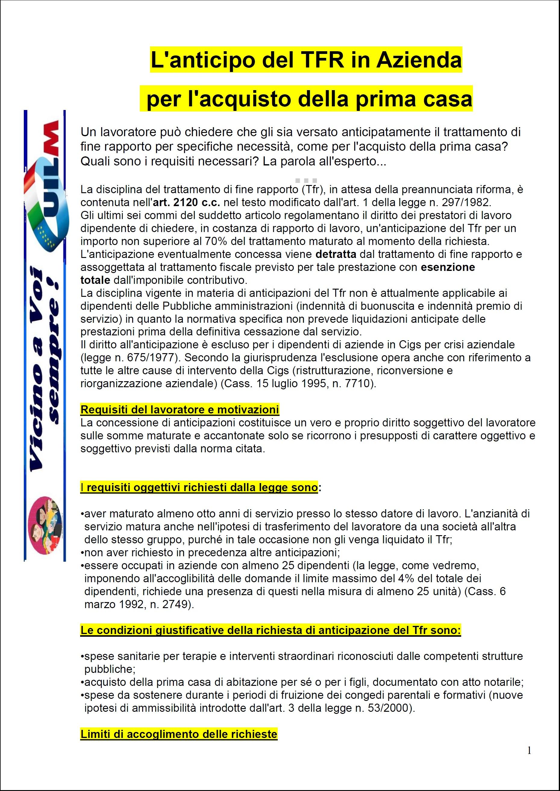 Anticipazione tfr liquidazione uilm provincia di cuneo - Anticipo per acquisto casa ...