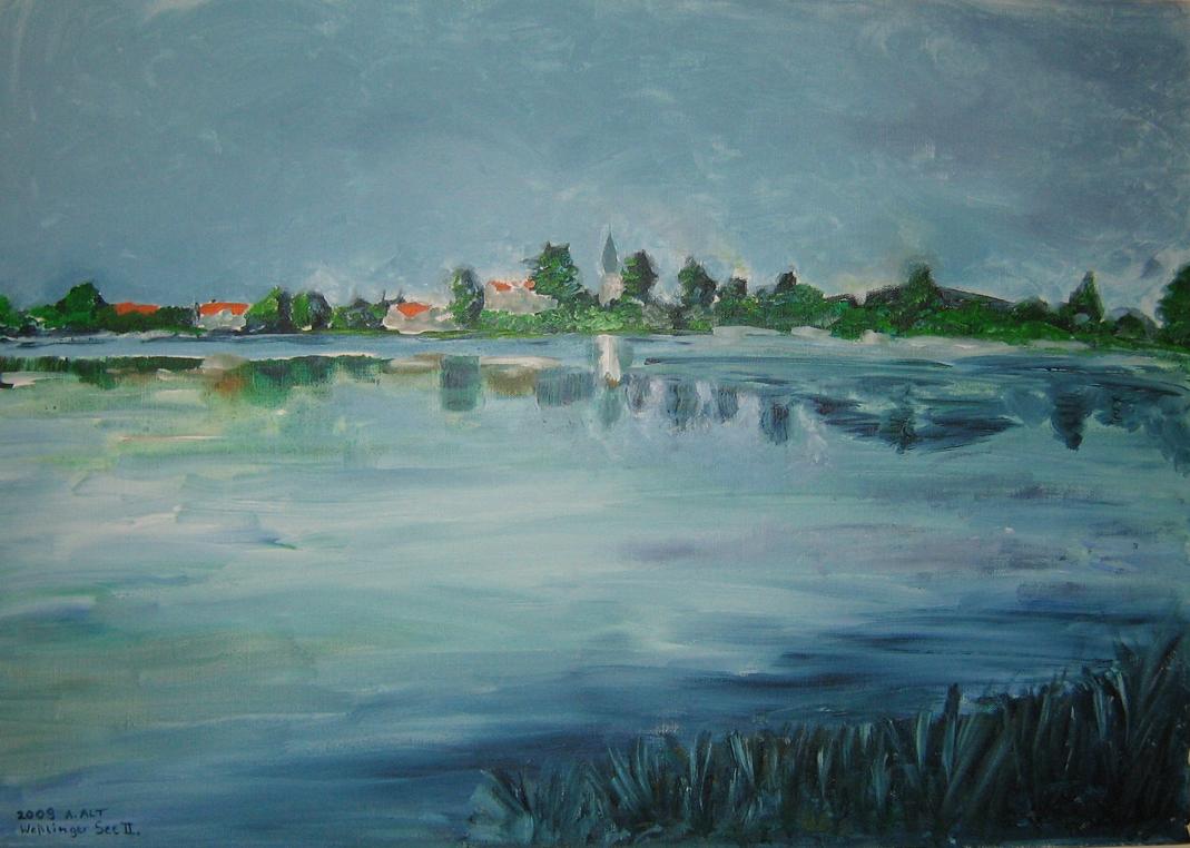 Pleinairmalerei Seefeld: Weßlinger See 2 von Anita Alt (Acryl auf Leinwand)