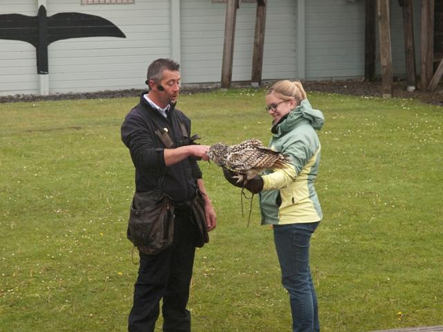 Vogeltrainer Jamie und Uhu Ullu mit mir.
