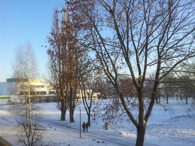 Blick auf den Hochschulcampus aus Haus 1.