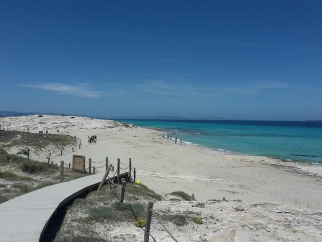 Über einen Holzweg gelangen wir zum ersten Strandstopp.