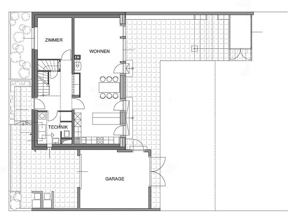 durchgehender Wohnbereich im Erdgeschoss nach Süden