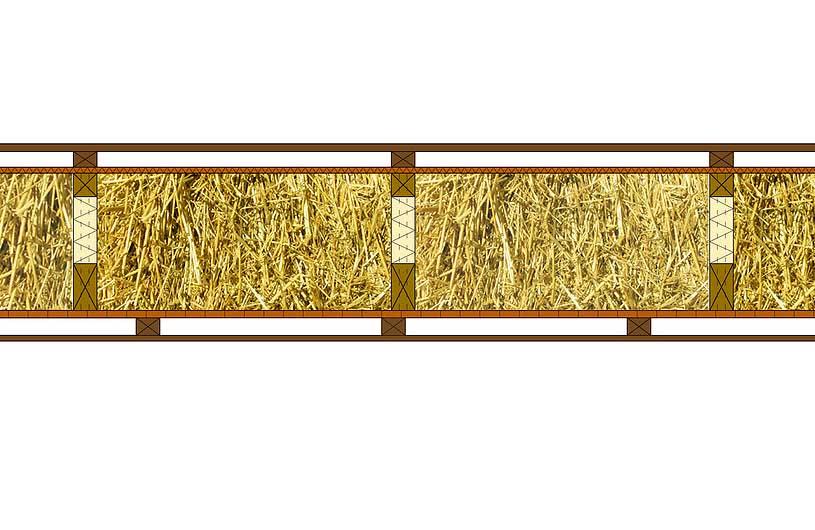 Holzrahmenwand mit Strohdämmung