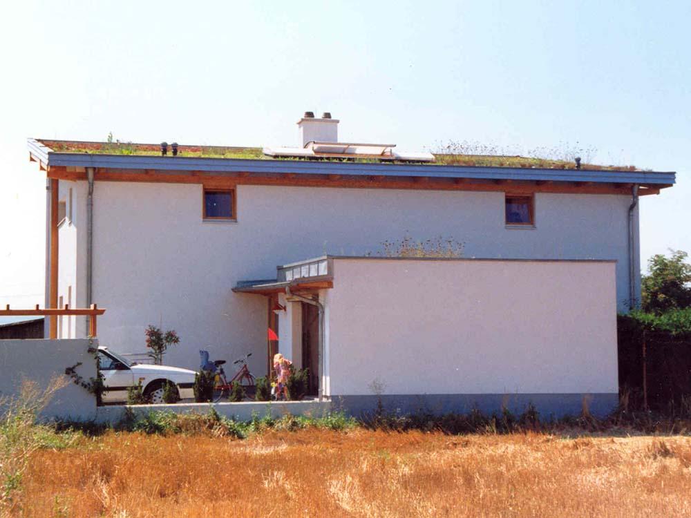 geschlossene Nordfassade mit Garage