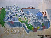 Santorini_und Meer_großes Gemälde
