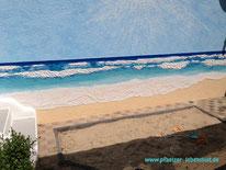 Garten Sandkasten wird Strand mit Meer Hauswand