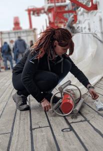 Tina Stein in her element deploying the plankton net! Image copyright Viola Siegler, Senckenberg