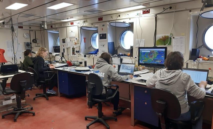 Sorting, analysing, archiving: A normal day on deck in the labs. L-R: Angelina Eichsteller (DZMB Wilhelmshaven), Jenny Neuhaus (DZMB Hamburg), Nicole Gatzemeier (DZMB Hamburg), Karen Jeskulke (DZMB Hamburg)