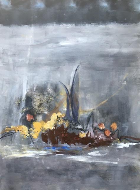 WACHSTUM IM EIS -Acryl / Collage auf Pappe 50 x 70 cm, 2019 | Blanka von Rohr | Malerei | Hamburg