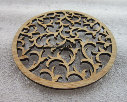 Bamboo coaster laser cutting